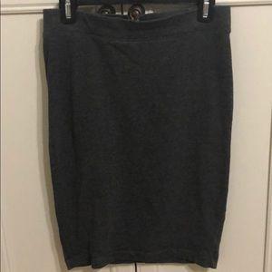 Dark gray cotton fitted skirt